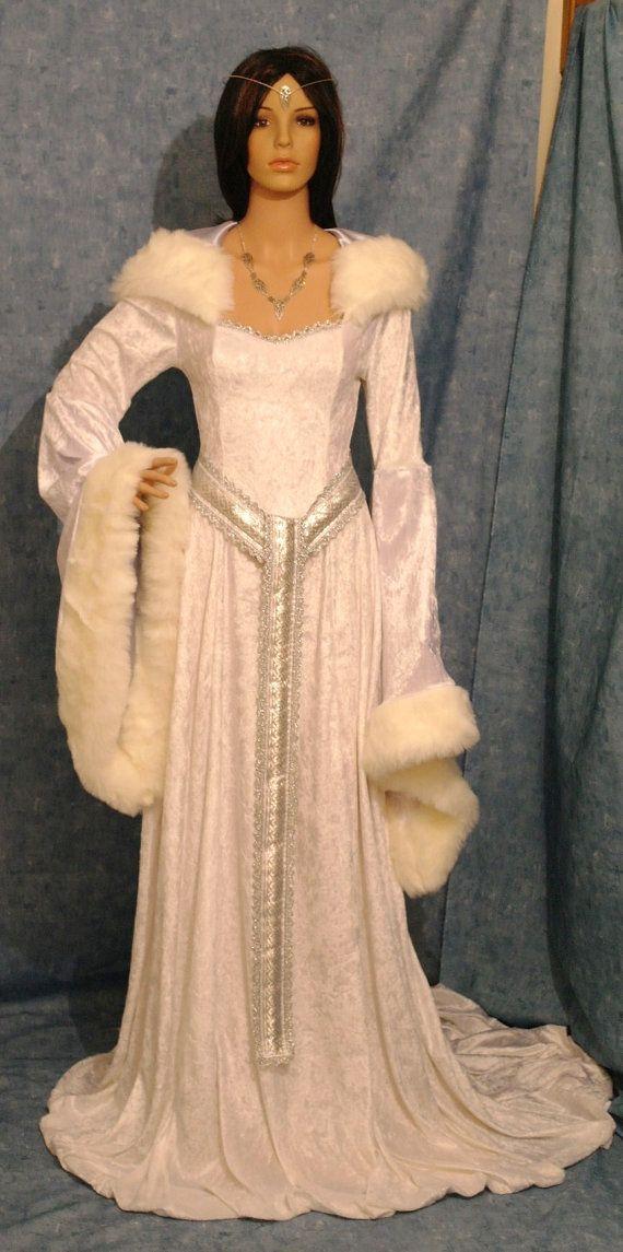 Medieval Dress Renaissance Snow Queen ELVEN FAIRY Winter Wedding Custom Made