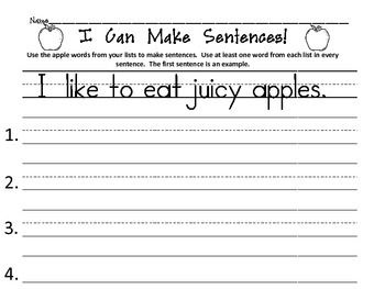 Apple Adjectives, Nouns, and Verbs Activity
