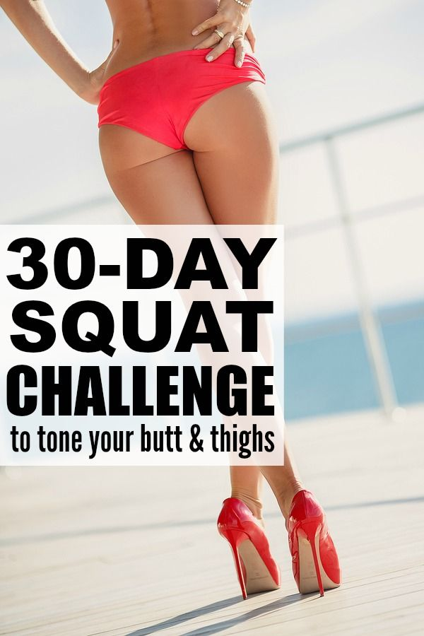 If you're searching for the perfect butt and thigh at home workouts so you can look fabulous by swimsuit season, give this 30-day squat challenge a try. It has 10 different squat variations with only 10 repetitions of each, and the entire workout takes LESS THAN 10 MINUTES to complete! Who's in?