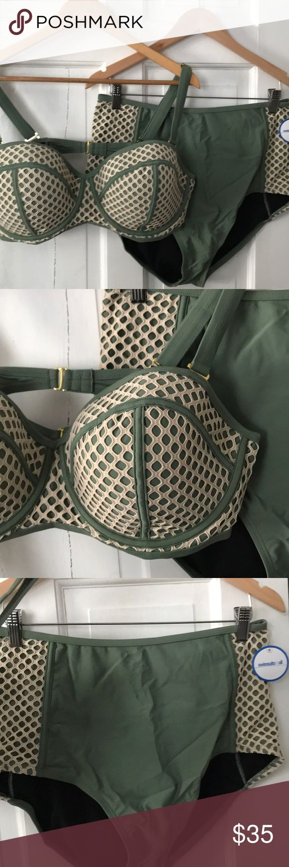 NWT Army Green Sexy Mesh High Waist Bikini 20 22 Brand new with tags  Army green with a cream mesh detail.   Comes in original shipping bags  Size 22 top but looks to run a size 20 (reviews said size up for fit) bottoms size 20 and look to run true to size. I haven't tried it on  Gorgeous suit from swimsuits for all. Gorgeous but not my size. Great quality   I purchased 8-10 suits to try before vacation.. some I didn't even try on before leaving due to how they looked size wise.. and I…