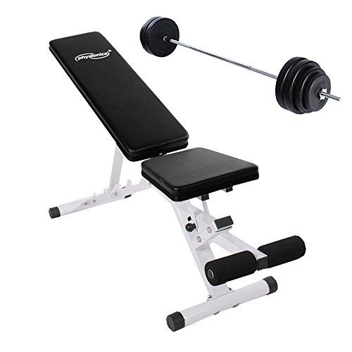 Weight Bench Set with Barbell and Leg Support Adjustable Multi Gym Folding Home Fitness