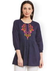 Bhama Couture Navy Tunic with Embroidered Detail