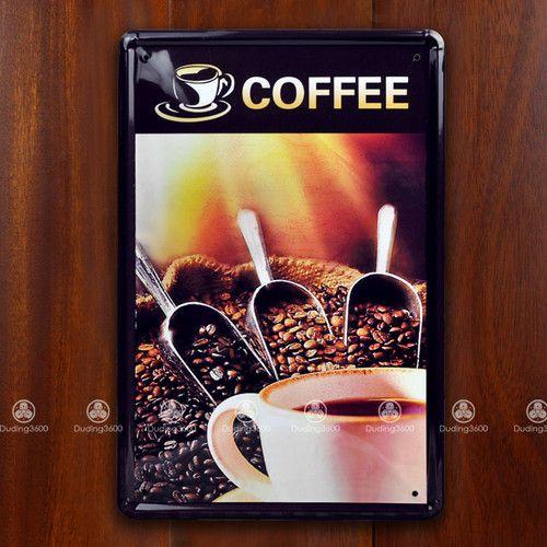 Tin Sign Wall Decor Retro Metal Art Poster Coffee Beans Cafe Restaura