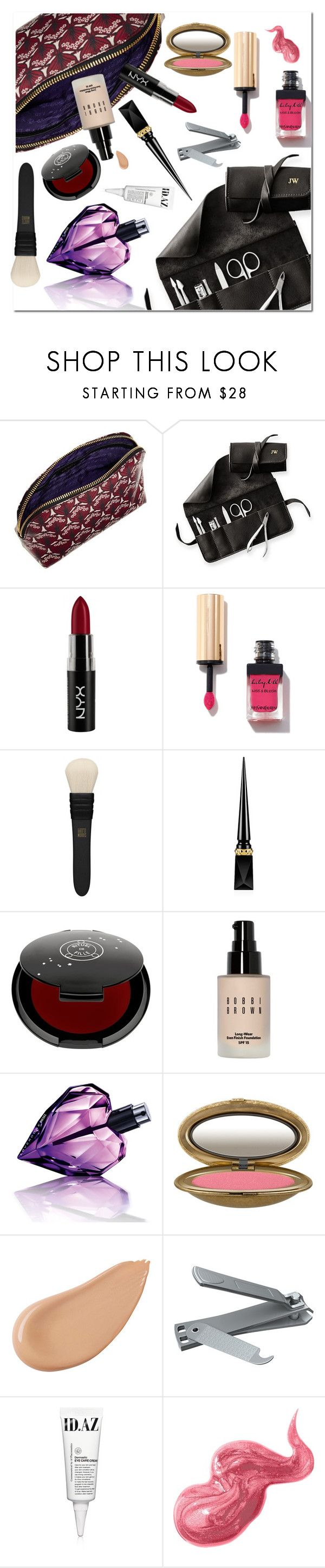 """""""#makeupbag"""" by hellodollface ❤ liked on Polyvore featuring beauty, Liberty, Mark & Graham, NYX, MAC Cosmetics, Christian Louboutin, Rituel de Fille, Bobbi Brown Cosmetics, Diesel and Shiseido"""