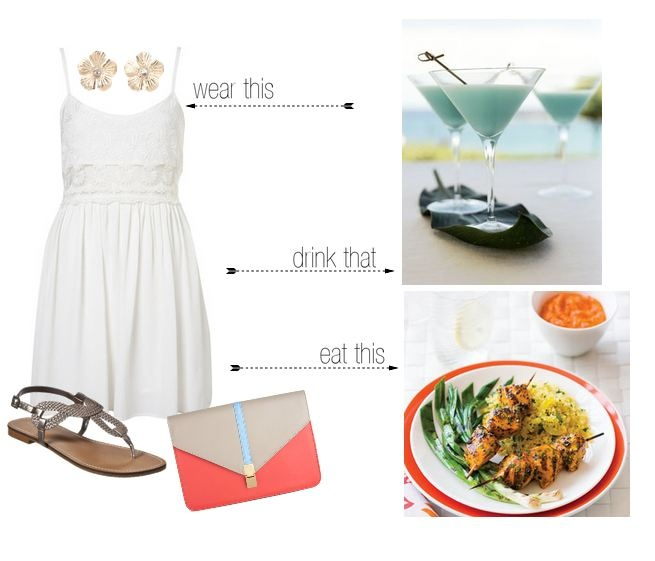 Blue Hawaiian Cocktail, Grilled chicken kebabs and a little white dress!: Pies Style, White Dress
