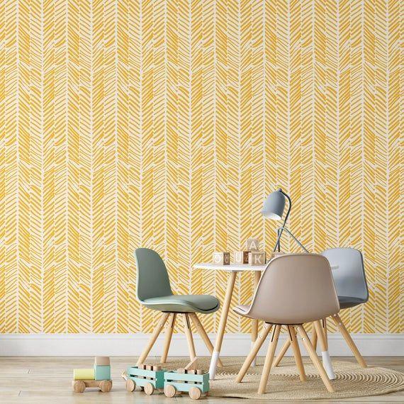 Yellow Chevron Wallpaper Peel And Stick Herringbone Self Etsy Chevron Wallpaper Herringbone Wallpaper Yellow Chevron