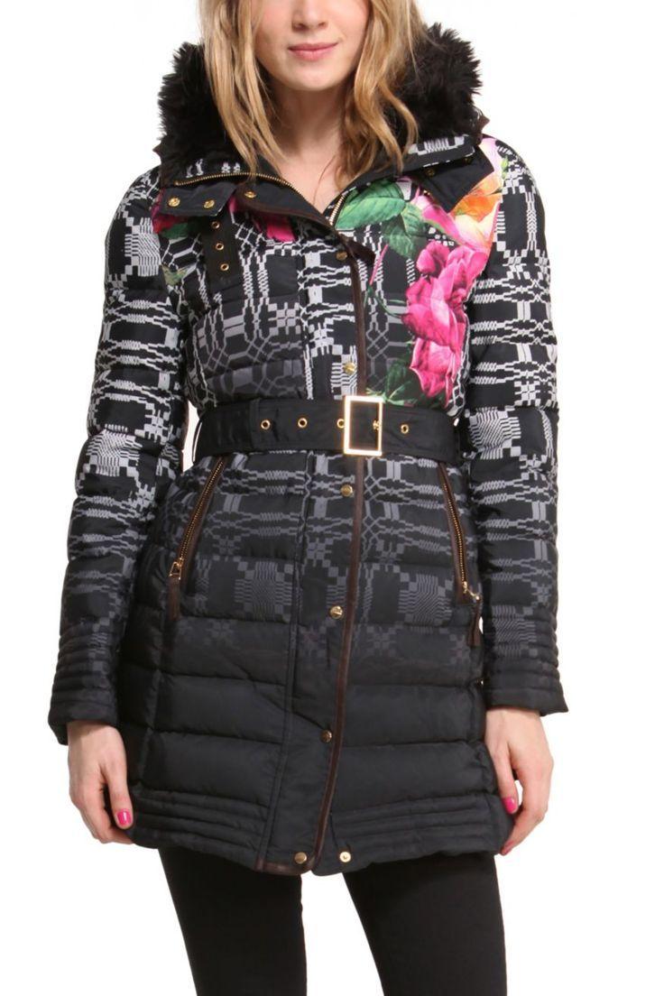 #Desigual Mantel - Modell Amapola, schwarz. Mit schönem Farbverlauf, ethnischen und floralen Mustern.