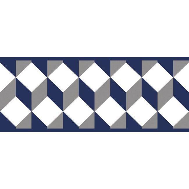 York Wallcoverings Bp8259bd Border Portfolio Ii Escher Border Navy Blue Gray Wallpaper Border Wall Coverings York Wallpaper