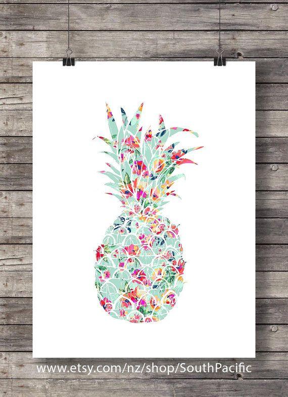 Ananas fleurs Aloha décor île tropicale Art par SouthPacific