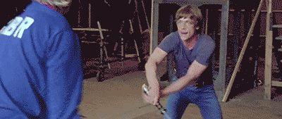 retrostarwarsstrikesback: Mark Hamill and Bob Anderson practicing lightsaber skills at Elstree Studios London for Return of the Jedi @retrostarwarsstrikesback