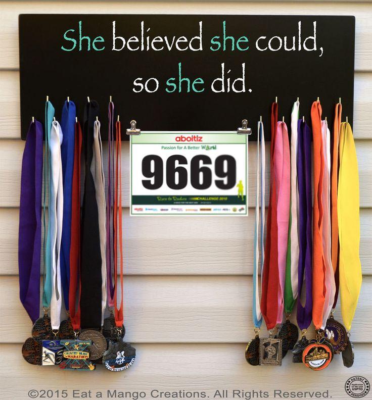 Sports Medal or Photo Holder,Display,Hanger,Rack,26.2,13.1,N1021, She Believed #EataMangoCreations