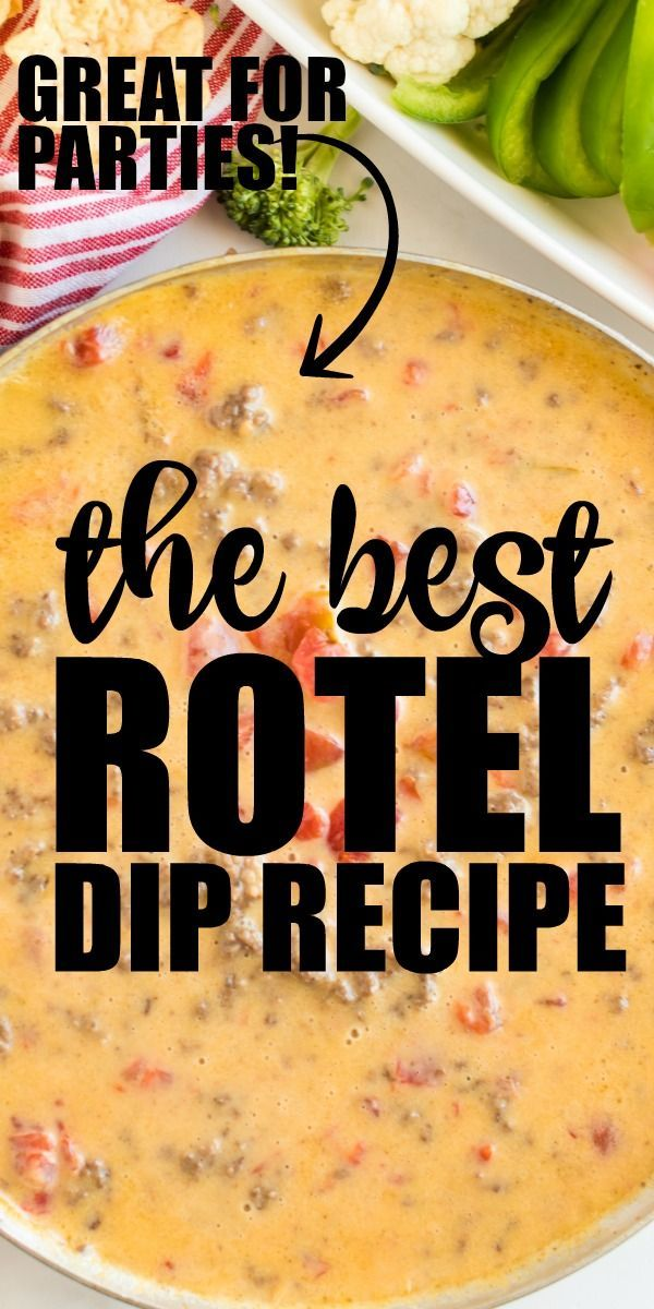 This Quick And Easy Homemade Rotel Dip Is Loaded With Cheesy Goodness Ground Beef And Spices With Only Three In Rotel Dip Rotel Recipes Cheese Dip Crock Pot