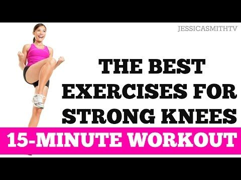 15 min - Weak knee exercises.  Need a stable kitchen chair, playground ball, and yoga mat.