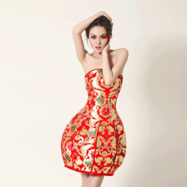 Strapless Tulip-Skirt Oriental Evening Dress in Red