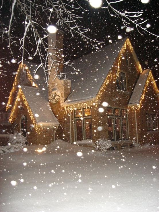 Icicle Lights look great on houses with peaked roofs !
