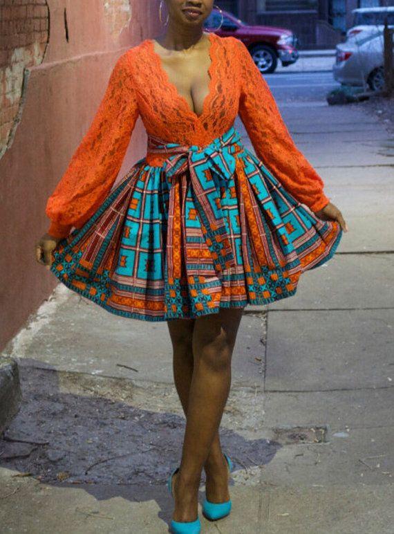 custom lace and ankara dress by ZiZiandGrace on Etsy