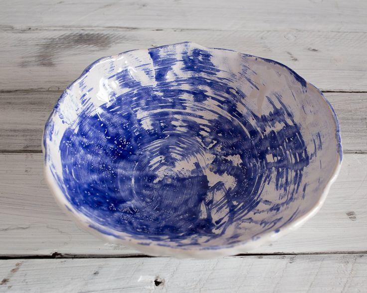 Modern white blue ceramic handmade bowl, rustic bowl, japanese style pottery, raku bowl, wabi sabi bowl, minimalist  bowl, Beach style bowl by KateVoronina on Etsy
