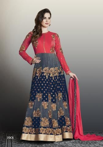 RUDRA FASHION-Blue and Red Color Faux Georgette Unstitched Kalidar Suit - 1901