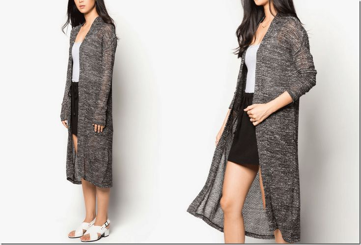 dark grey melange long cardigan