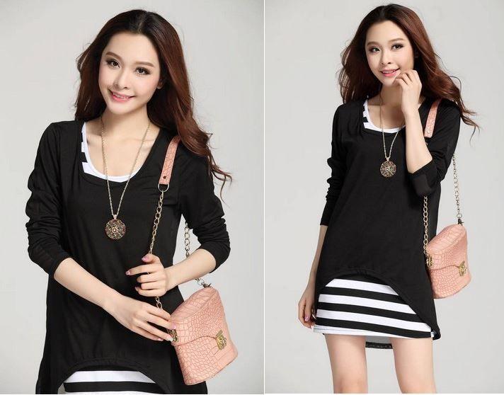 Two Piece Stripes Short Dress