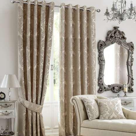 Natural Versailles Lined Eyelet Curtains