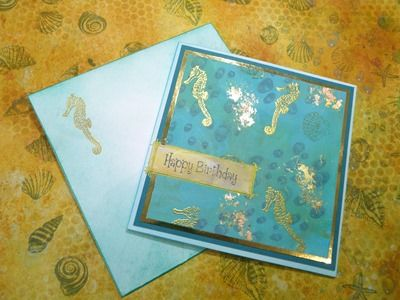 Birthday card from gold-embossed masterboard - card and envelope 2015