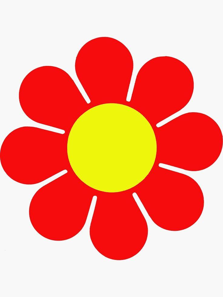 Red yellow hippy flower daisy sticker by hilda74 in 2020