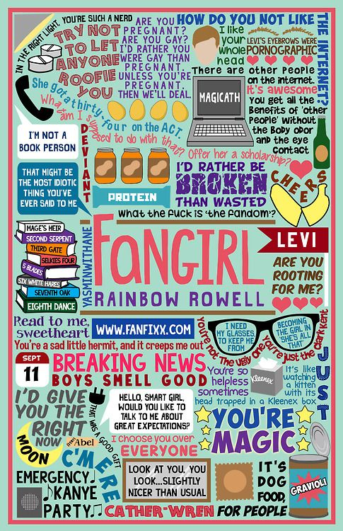 yasminwithane:  Book Collage based onFangirl by Rainbow Rowell. Perhaps a bit too quote heavy? But I personally blame Rainbow Rowell and her amazing writing for that. It was super hard having to leave out so many amazing quotes… Check out the rest of my book collages HERE  THIS IS AMAZING!!! OH MY GOODNESS!!! GRAVIOLI!!!
