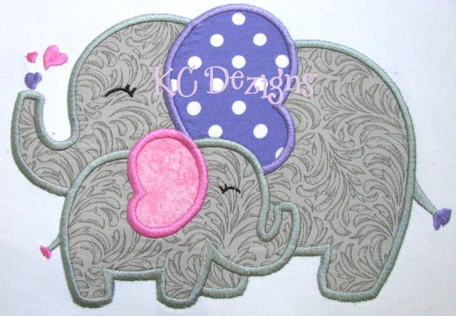 mommy and baby elephant applique,baby embroidery,baby applique ...