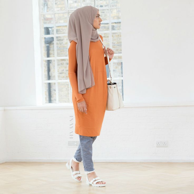 INAYAH   Orange Cocoon #Midi + Washed Ink Tapered #Trousers + Light Mink Maxi Georgette #Hijab