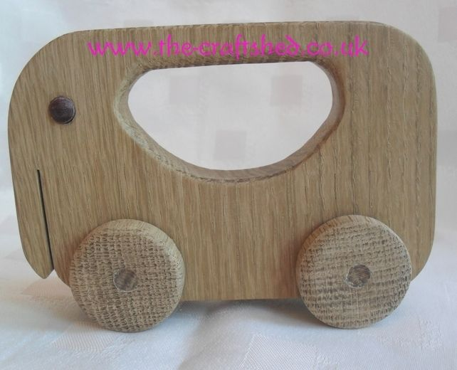 Hand Crafted SOLID WOOD PUSH ALONG ELEPHANT TOY So Cute from 6months £4.99