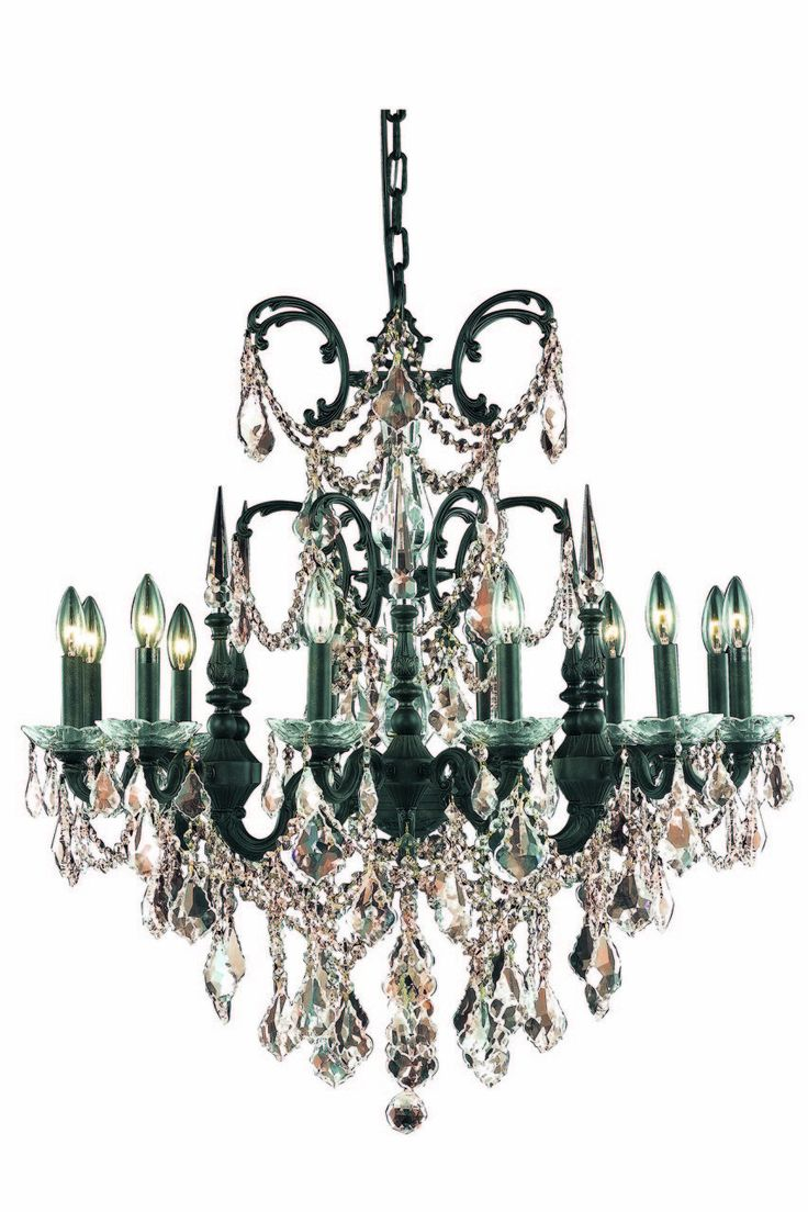 Athena 12 Light Golden Teak (Smoky) Chandelier in Dark Bronze Finish 9712D32DB-GT/RC