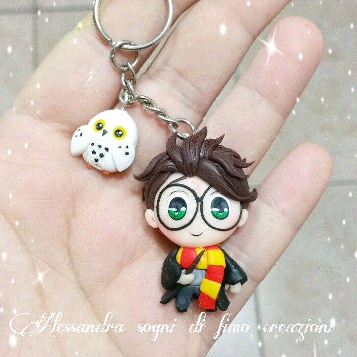 Harry potter keychain edwige owl fimo clay