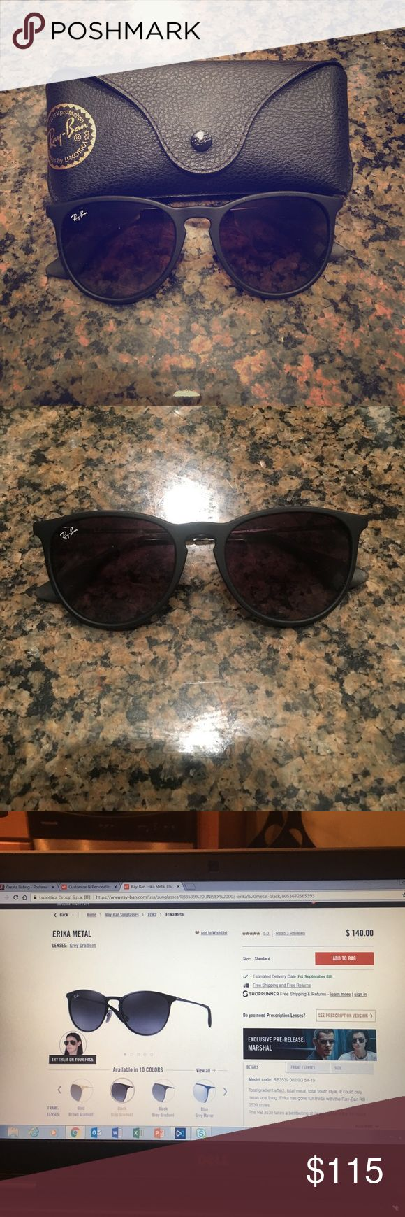 Ray-Ban Erika Metal Black Sunglasses Brand new without tags Ray-Ban sunglasses. Listed on website for $140 + tax ($150.50), asking $115 or best offer. Ray-Ban Accessories Sunglasses