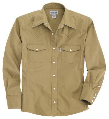 Carhartt Work Wash Snap-Front Shirt for Ladies - Dark Khaki - XS