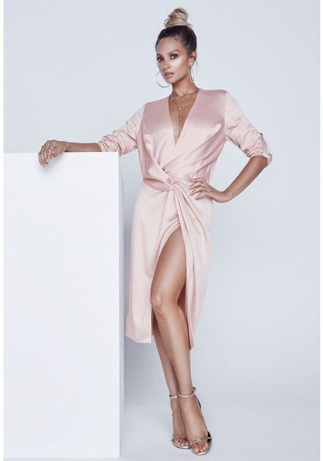Alesha Dixon Satin Knot Dress in Blush