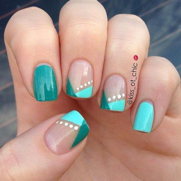 Image Via Easy Nail Designs For Short Nails Step By Feather Beginners Simple Art Pink Base Blue Line
