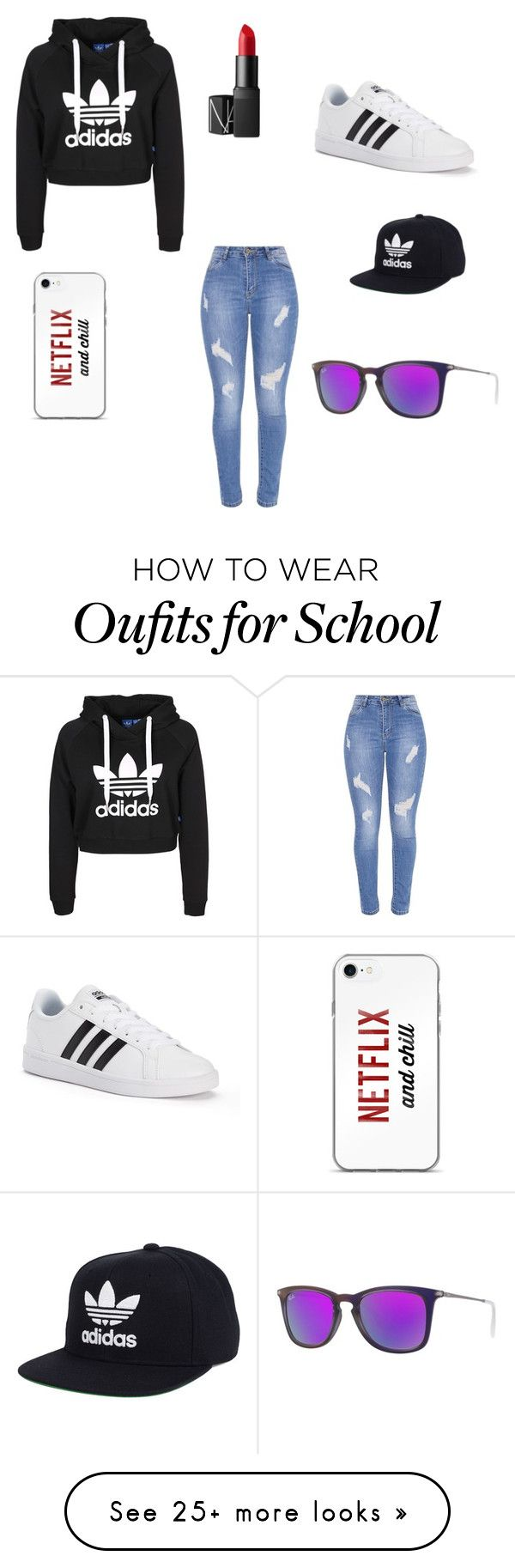 """School"" by pineapplebae1892 on Polyvore featuring adidas, NARS Cosmetics and Ray-Ban"