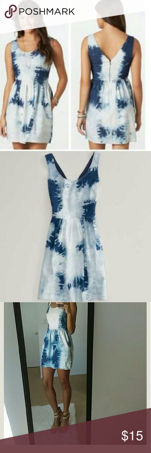 American Eagle Outfitters Dresses sale 1 hr🎊🎉 American Eagle Outfitters Dresses & Skirts - AE tie dye denim dressute and girly. Fits 0-2 American Eagle Outfitters Dresses Mini