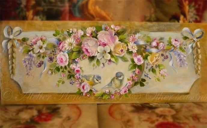 Original paintings by Helen Flont: Décor Ornement 18ème aux roses, rubans et mésanges