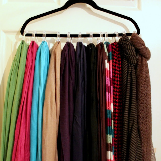 DIY scarf hanger-- use ribbon and a glue gun to keep the rings from sliding around!