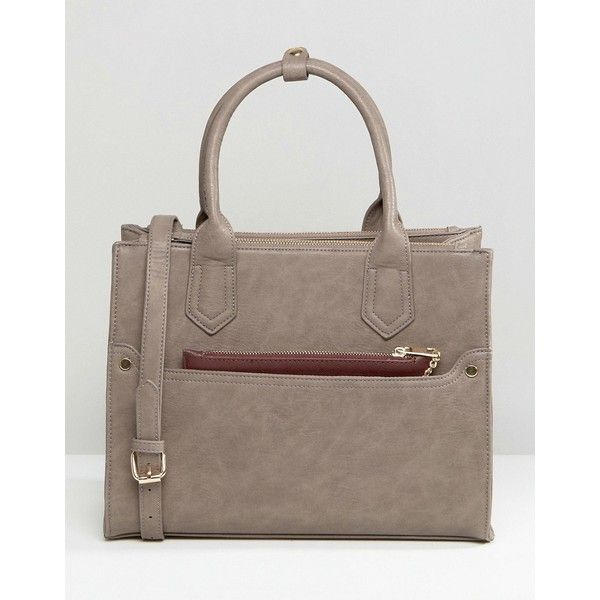Oasis Tote Bag With Detachable Purse (3,315 INR) ❤ liked on Polyvore featuring bags, handbags, tote bags, grey, grey handbags, grey tote bag, tote purses, zip top tote bag and zip top tote