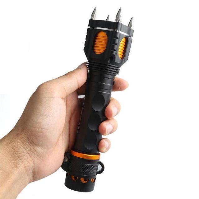 2200Lm del CREE XM-L T6 lanterna 18650 antorcha de destello de defensa propia linterna de LED ataque de la cuerda de corte alarma Audible de la antorcha