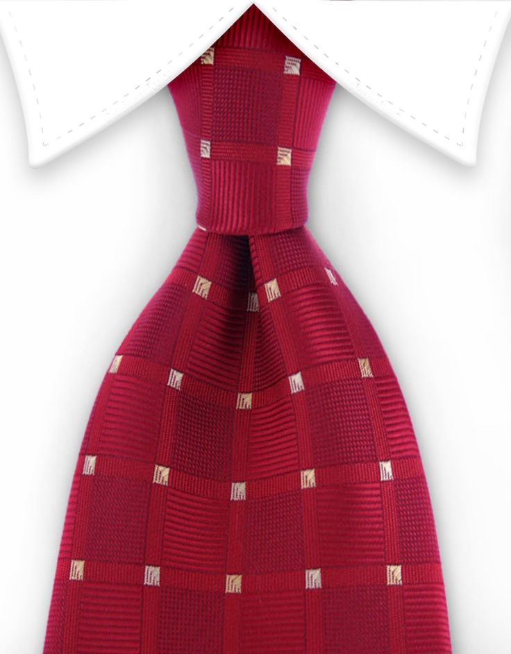 Red & Gold Squares - 2XL - Extra Long Tie