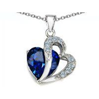 Original Star K (tm) Large 12mm Simulated Blue Sapphire Heart Pendant with Sterling Silver Chain