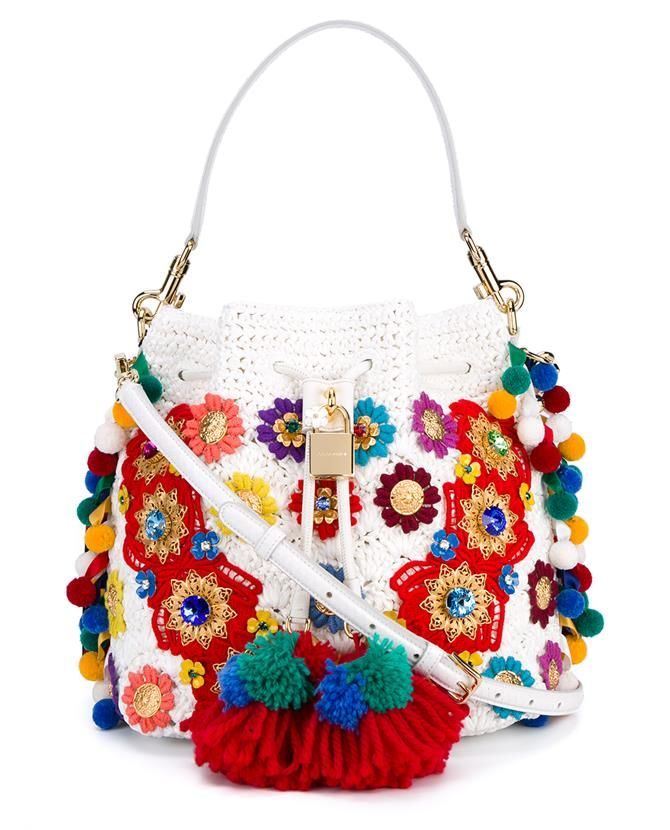 DOLCE & GABBANA Claudia Pompom Python Skin and Raffia Bucket Bag