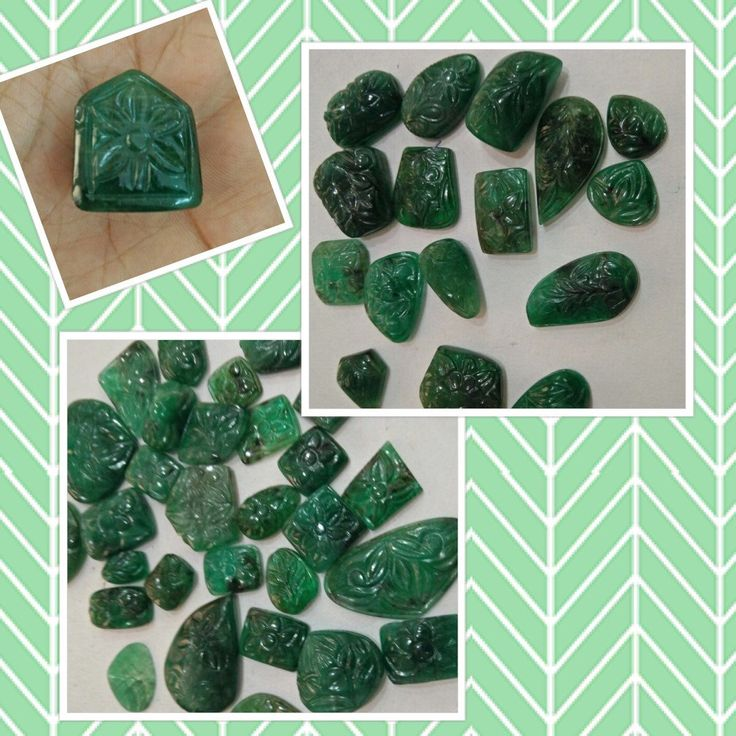 Emerald Carving on Gemsforjewels!Beautiful Original, Totally natural, these hand carved emerald pcs are truely a treasure. Own these at Flat 55% off.
