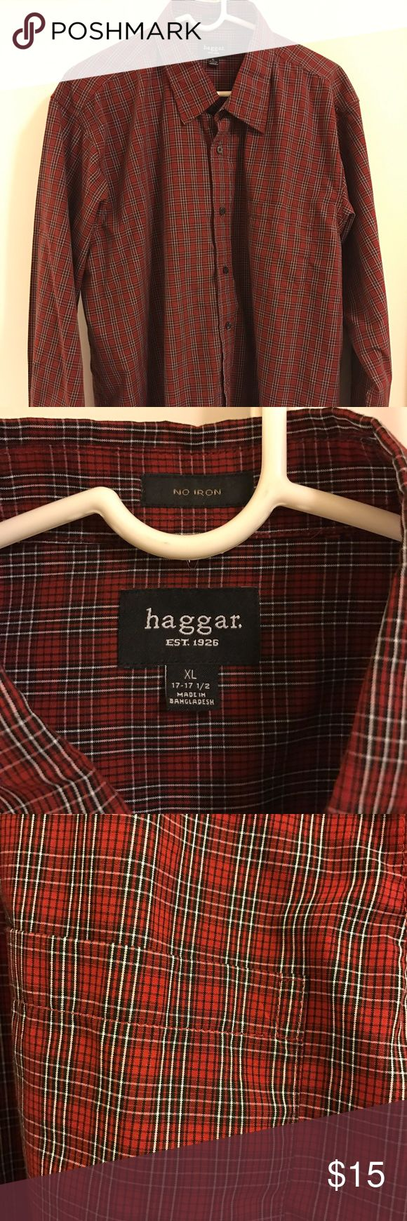 Men's Haggar Plaid Shirt XL Men's red plaid button down shirt XL. New without tags. Wrinkle free. Haggar Shirts Casual Button Down Shirts