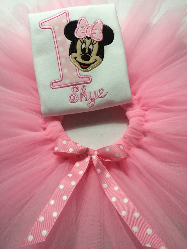 Personalised Baby pink Minnie Mouse inspired tutu set with polka dot bow