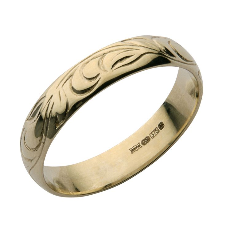 4mm 9ct Yellow Gold Swirl Patterned Wedding Ring Band At Elma Uk Jewellery